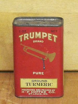 """Antique Vintage """"TRUMPET BRAND"""" Turmeric 2 oz. Spice Tin Can H-P Coffee Co"""