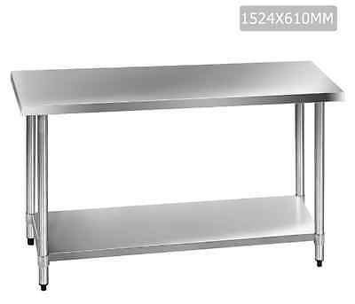 430 Stainless Steel Kitchen Work Bench Table 1524mm Prep Tables Under Shelf New