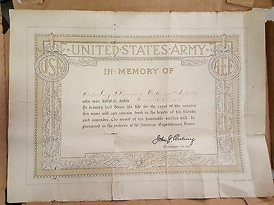1918 antique WWI aef ARMY KILLED BATTLE 315th INFANTRY pvt HARRY F DIAMOND