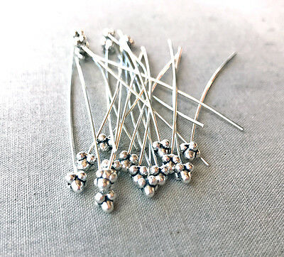 20 Decorative Small 4 Ball 2inch Antique Silver Plated Headpins Findings 65750