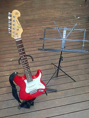 SX Standards Series Custom handmade electric guitar, strap, stand and holder