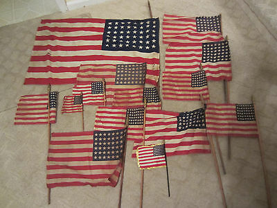 Antique Lot 15 fabric 48 Star US American Parade Flags Assorted Sizes Condition