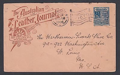 Victoria Australia 1906 Leather Journal Advertising Cover Melbourne Flag To Usa