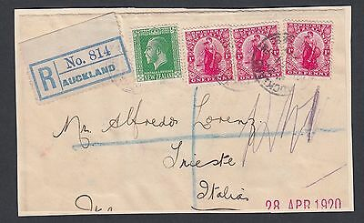 New Zealand 1920 Registered Cover Front Auckland To Trieste Italy