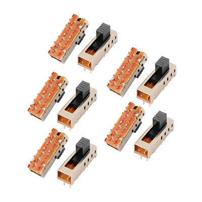 10Pcs 4 Position 10P 2P4T Panel Mount Micro Slide Switch Latching Power Switch