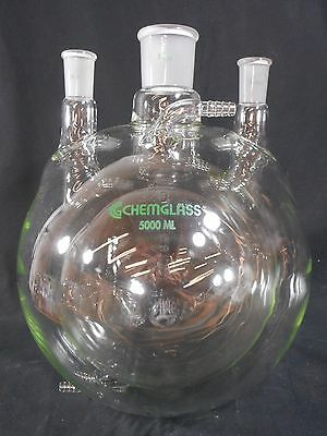 CHEMGLASS Glass 5L 5000mL 3-Neck Water-Jacketed Round Bottom Flask 45/50 24/40