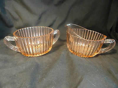Pink Queen Mary Depression Glass Sugar Creamer by Hocking Glass 1936-49