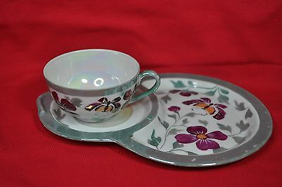 Vtg Noritake Butterfly Luster ware Tea Cup w/Snack Plate-Tea and Toast set-red M