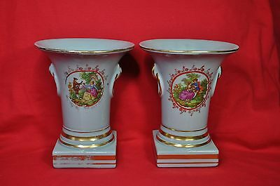 """Pair of Vintage 7.25"""" Vases Urn Blue w/Gold Trim Victorian Courting Couple"""