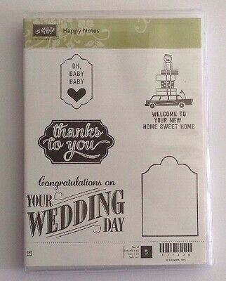"Stampin' Up Unmounted Brand New ""happy Notes"" - 5 Stamps"