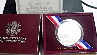 1992 $1 US Olympic BASEBALL Silver COIN  with Original Box and Paperwork