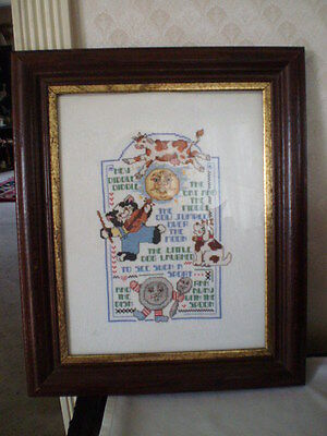Large Vintage Completed Framed Cross Stitch Sampler -Nursery Rhymes - 15 X 18
