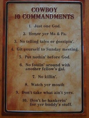 COWBOY TEN 10 COMMANDMENTS Rustic Old West Country Western Sign Home Decor NEW