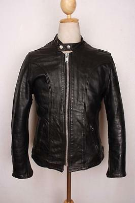 Vtg SCHOTT Brown CAFE RACER Leather Motorcycle Jacket Size S/XS