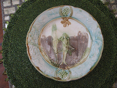 Joan Of Arc Sarrequemines  Majolica Plate Antique