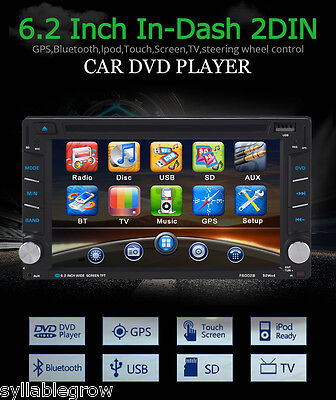 "6.2"" Double 2 Din GPS Sat Nav HD Car Stereo DVD Player Bluetooth iPod MP3 TV FM"