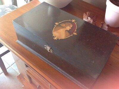 Jewelry Box Timber Antique Timber / Wood Hand Painted Picture