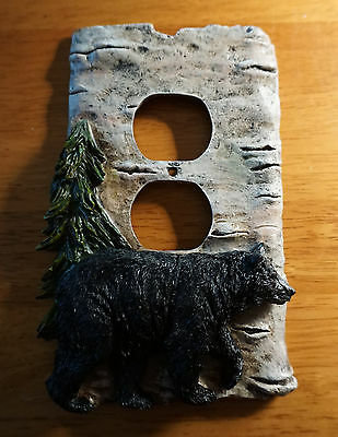 BLACK BEAR BIRCH BARK OUTLET WALL PLATE COVER Log Cabin Lodge Home Decor NEW