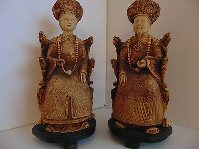 Carved Asian Vintage Oriental Chinese Emperor & Empress Figurines Wood Base