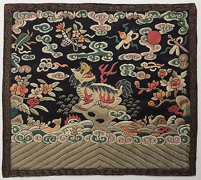 Antique Chinese Silk Embroidered Rank Badge With Kirin,