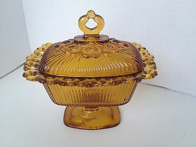 Vintage Indiana Amber Glass Candy Footed Dish W/Ribbed Lid & Bowl