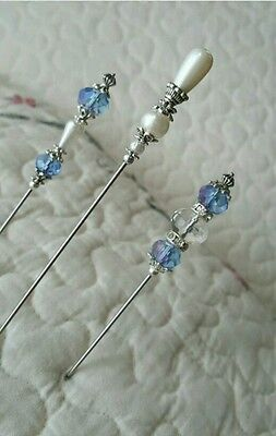 Antique Inspired Victorian Hat Pins Vintage Beads Clutch Included, Sharp, Strong