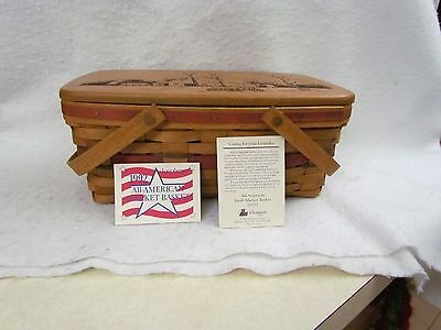 1992 Longaberger All American Small Market Basket with Protector and Wooden Lid