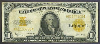 1922 $10 Solid Historic 'gold Coin' Gold Certificate!
