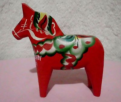 "Nils Olsson Swedish Dala Wooden Hand Carved Horse in red 5"" Tall"