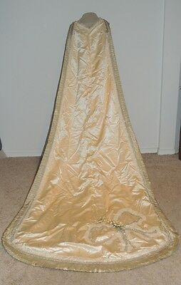 Edwardian Beaded Silk Wedding Train w Gold Lame'