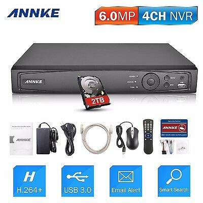 ANNKE 4CH 6MP NVR h.264 Network HDMI VGA 2TB for Home POE Security Camera System