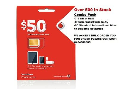 VODAFONE $50 TRIOSIMCARD with 7.5 GB Data & Infinite Call & Texts (Starter Pack)