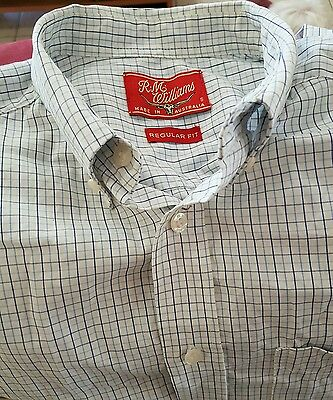 R.m.williams White And Blue Checked Long Sleeved Shirt Size  S  Regular Fit