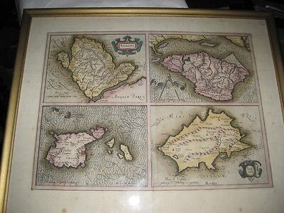 Antique 18c Map England Channel Island Engraving Channel Wight Hand Color c1780
