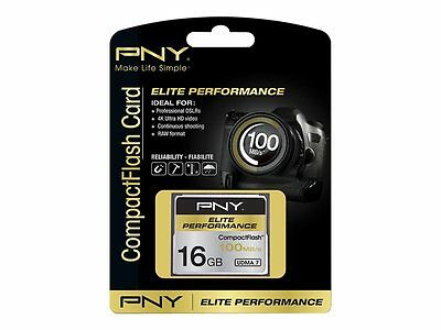 PNY Elite Performance Comact Flash Card 16GB 100MB/s Read 50MB/s Write CF16GELIP