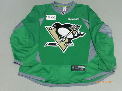 Pittsburgh Penguins Reebok 3.0 Green Practice Game Worn Used Jersey SIZE 58