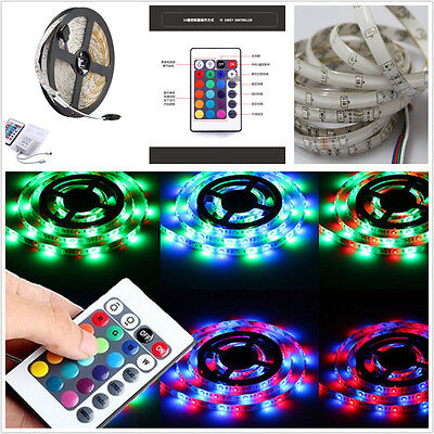 5M 300LED 3528 SMD Remote Control Colorful Car Interior Decorative Lights Strip