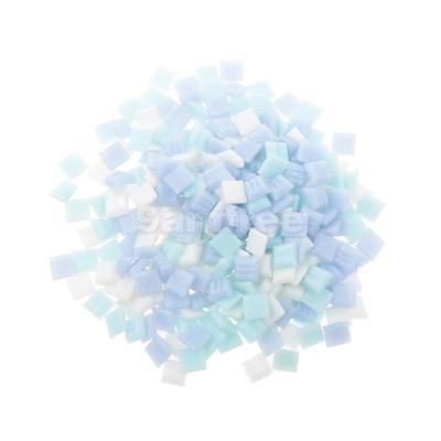 200g Purple Tumbled Stained Glass Turquoise Mosaic Tiles Craft 10mm