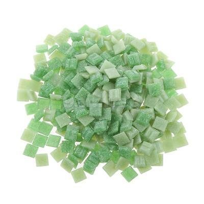 200g Greens Tumbled Stained Glass Turquoise Mosaic Tiles Craft 10mm