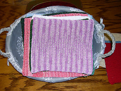 Hand Knit Dishcloth- Shades of Lavender - 8 x 8 + Free Shipping Offer