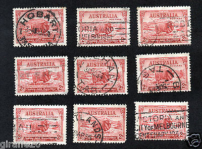 set of 9 used 2d Red Merino Ram stamps C of A watermark perf 11.5