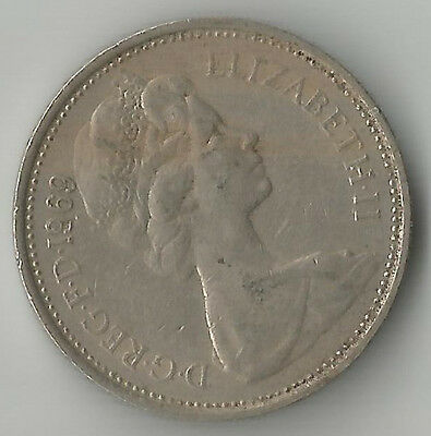UK 1969 large 5 new pence COIN circulated - suit birthday, anniversary etc