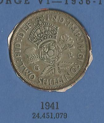 1941 George VI KGVI Silver .500 Florin / Two shilling coin good circulated