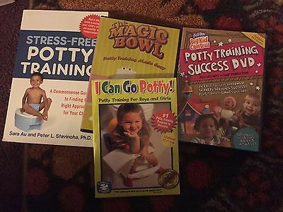 Lot Of 4 Pieces Baby Toddler Toilet Potty Training DVDs And Book Stress free