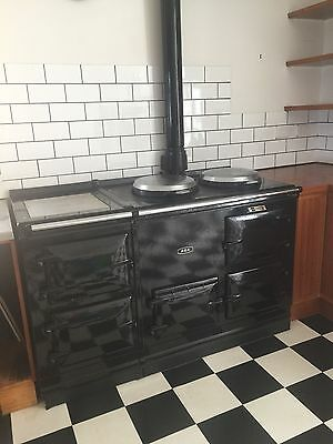 AGA gas cooker in black with 4 ovens & 2 hotplates