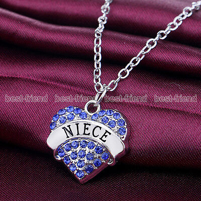 Family Gift Silver Blue Crystal Heart Charm Chain Pendant Necklace For Niece