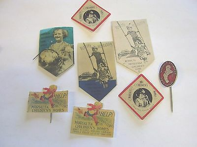 8 Vintage Fundraising Appeal Day Badges Pins Morialta Childrens Home Adelaide