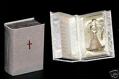 crystal glass guardian Angel Blessing Unusual  box gift present Baptism #8