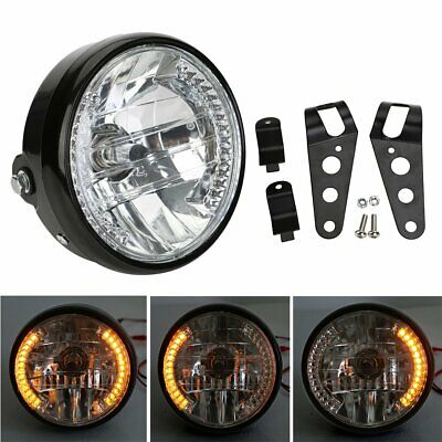 "7"" Motorcycle Headlight Amber Turn Signal Indicators W/ Head Light Bracket Black"