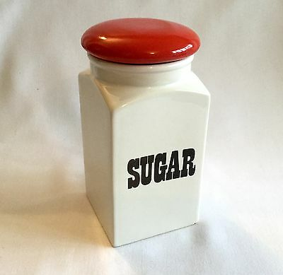 T. G. Green Sugar Jar Pot Retro Vintage Red Lid - Church Gresley